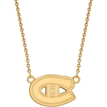 Logoart Nhl Montreal Canadiens 14Kt Gold Plated Sterling Silver Small Pendant With Necklace