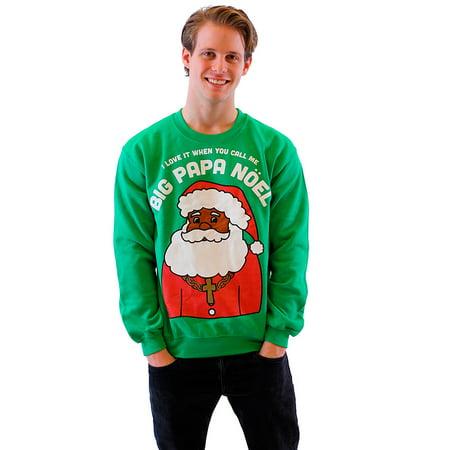 Big Papa Noel Green Fleece Ugly Christmas Sweatshirt