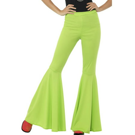 Adult's Womens Green 70s Flared Groovy Disco Pants Costume - 70s Head Band