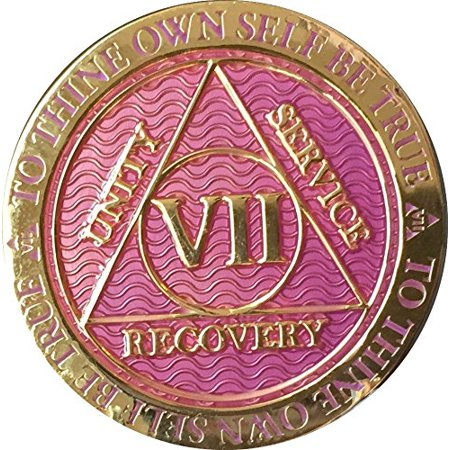 7 Year AA Medallion Reflex Lavender Pink Gold Plated Sobriety Chip