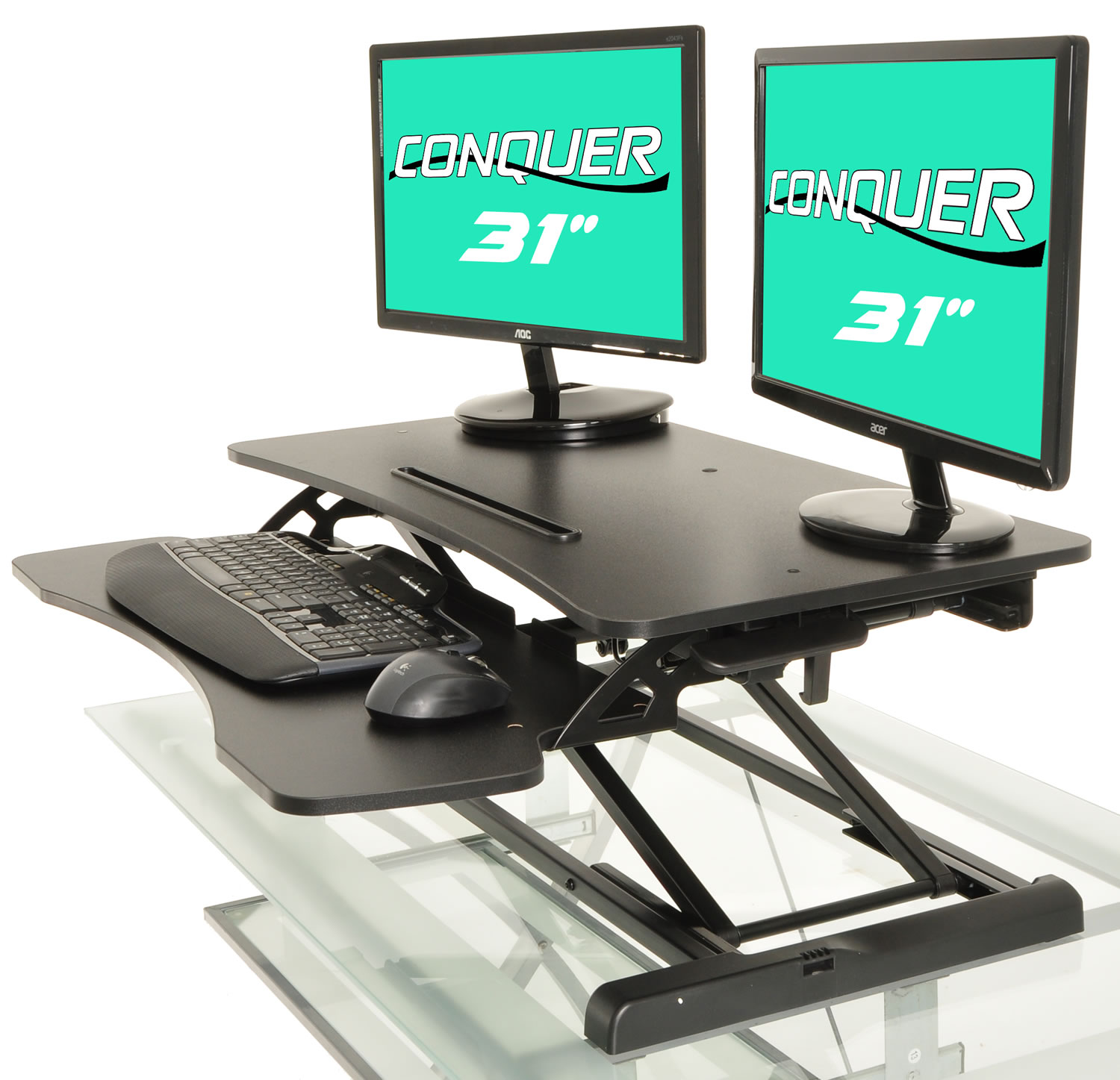 Height Adjustable Standing Desk Monitor Riser Gas Spring Tabletop Sit to Stand Workstation