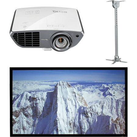 BenQ HT4050 Colorific DLP Full HD Short-Throw Home Theater Projector, Elite Screens ER100DHD3 100