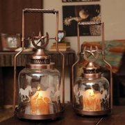 Cape Craftsmen Horse Shoe and Gallopping Horse Glass and Metal Lantern Set (Set of 2)