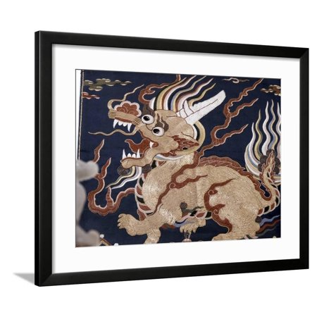 Embroidered silk depicting a Qilin unicorn, China, Ming dynasty, 16th-17th century Framed Print Wall Art By Werner Forman