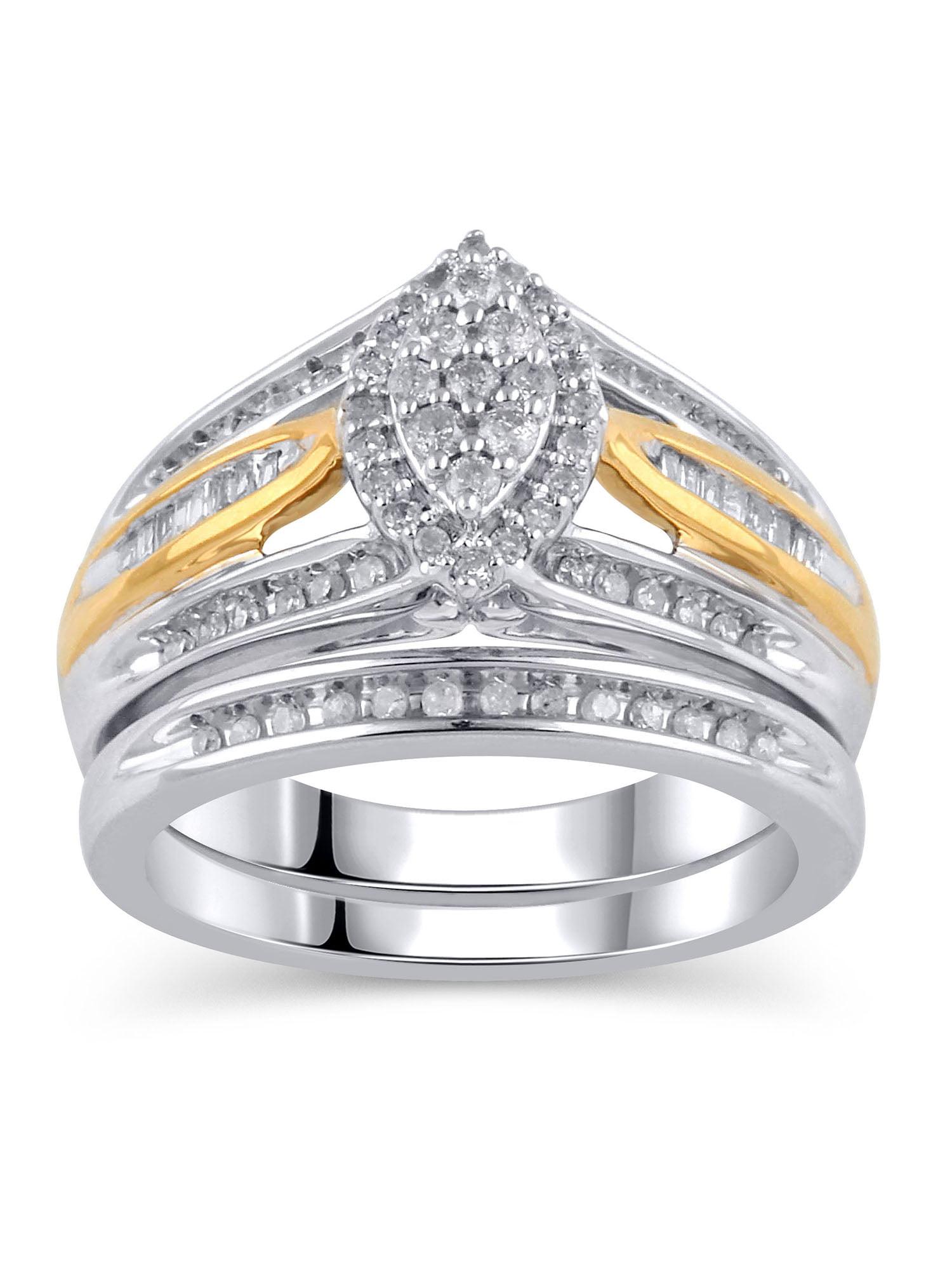 1/2 Carat T.W. Diamond Sterling Silver Bridal Set