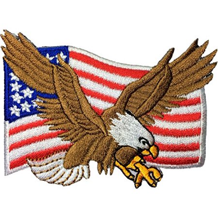 Bald Eagle with American Flag Embroidered Iron Sew On Patch by Ranger