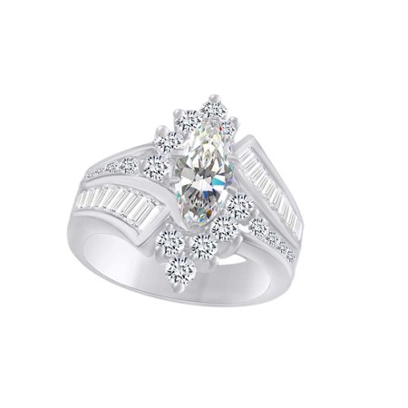 - Marquise & Round Cut White CZ Cocktail Engagement Ring In 14k White Gold Over Sterling Silver (3.20 cttw) Ring Size-4