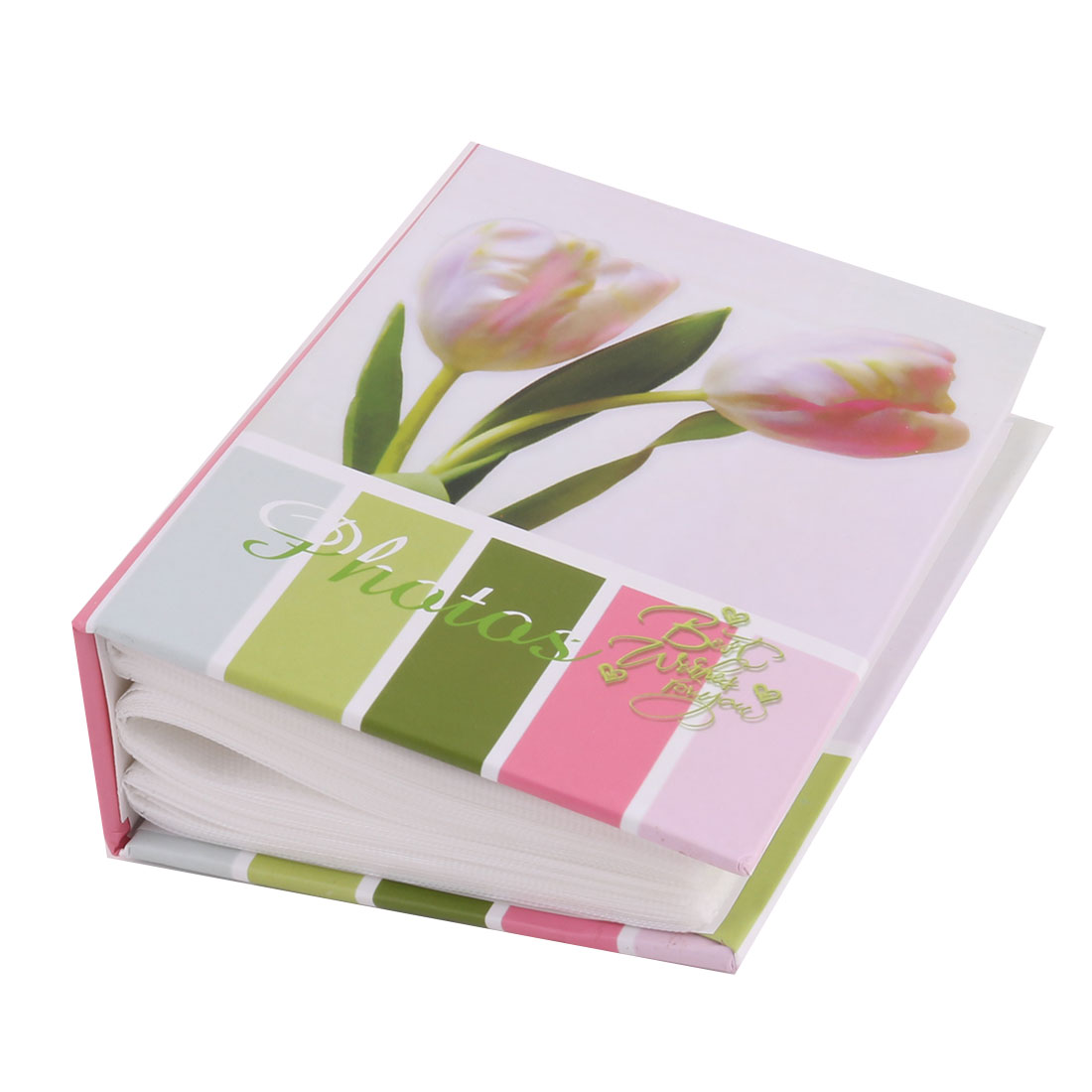 Family Cardboard Flower Pattern Picture Holder Memo Collection Photo Album Pink