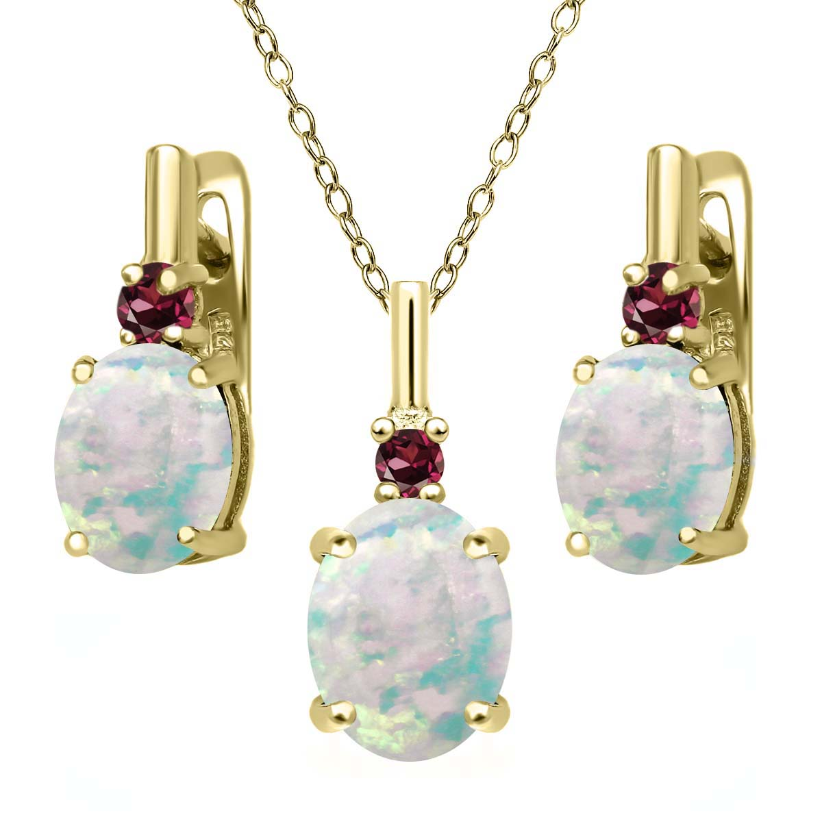 4.89ct Simulated Opal Rhodolite Garnet 18K Yellow Gold Plated Silver Jewelry Set by