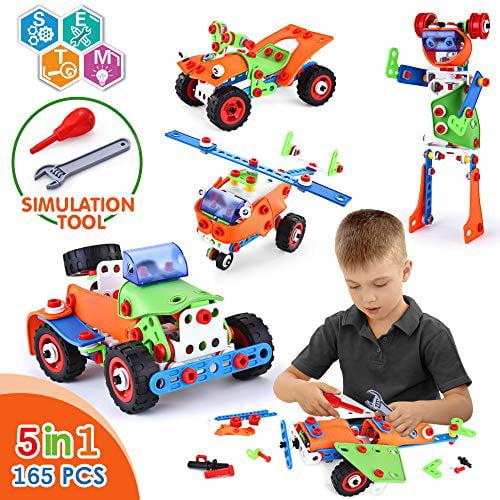 Vatos Stem Building Toys 165 Piece Learning Toy Kit Educational Construction Engineering Fun Building Block Set