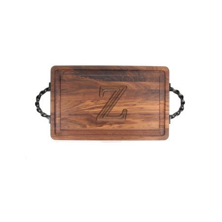 """BigWood Boards W220-LTWS-Z Thick Carving Board with Large Twisted Square End Handle, 15-Inch by 24-Inch by 1.25-Inch, Monogrammed """"Z"""", Walnut"""