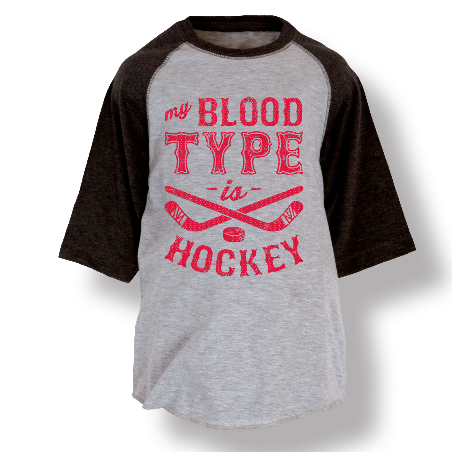 My Blood Type Is Hockey Sticks And Pucks Athlete Sports Cool-Youth Raglan by