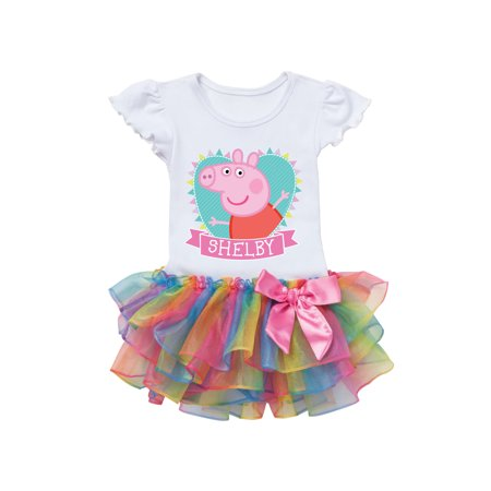 Peppa Pig Heart Rainbow Toddler Girl Personalized Tutu (Personalized Pig)