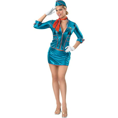 Flight Attendant Adult Halloween Costume, Size: Women's - One Size - Flight Attendant Costume For Kids