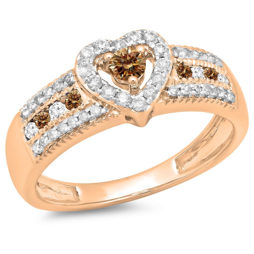 Dazzling Rock 0.55 Carat (ctw) 14K Rose Gold Round Cut Ch...