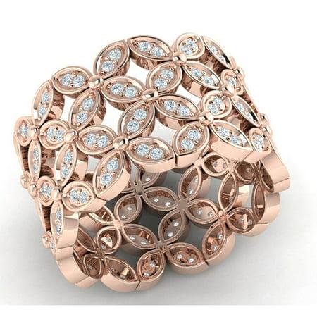 Genuine 1ct Round Cut Diamond Prong Fancy Flower Wedding Eternity Band Ring Bridal Anniversary Solid 18K Gold FG VS2 Fancy Eternity Band