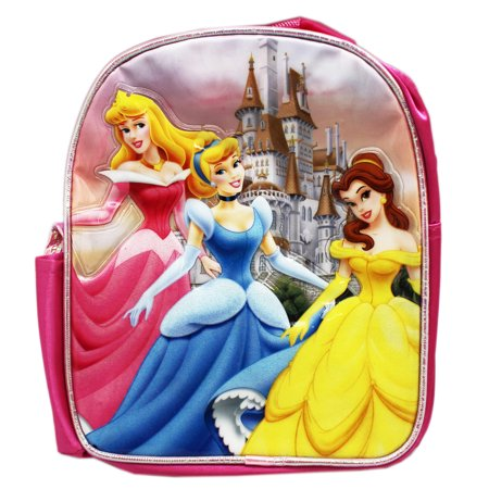Disney Princess Aurora, Cinderella, and Belle Mini Kids Toy Backpack (10in)