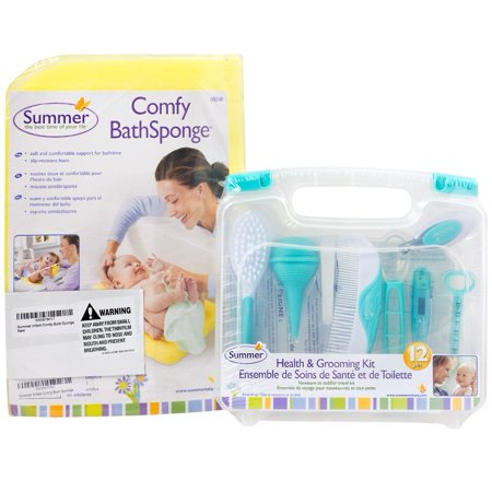 Summer Infant Comfy Bath Sponge and Health & Grooming Kit