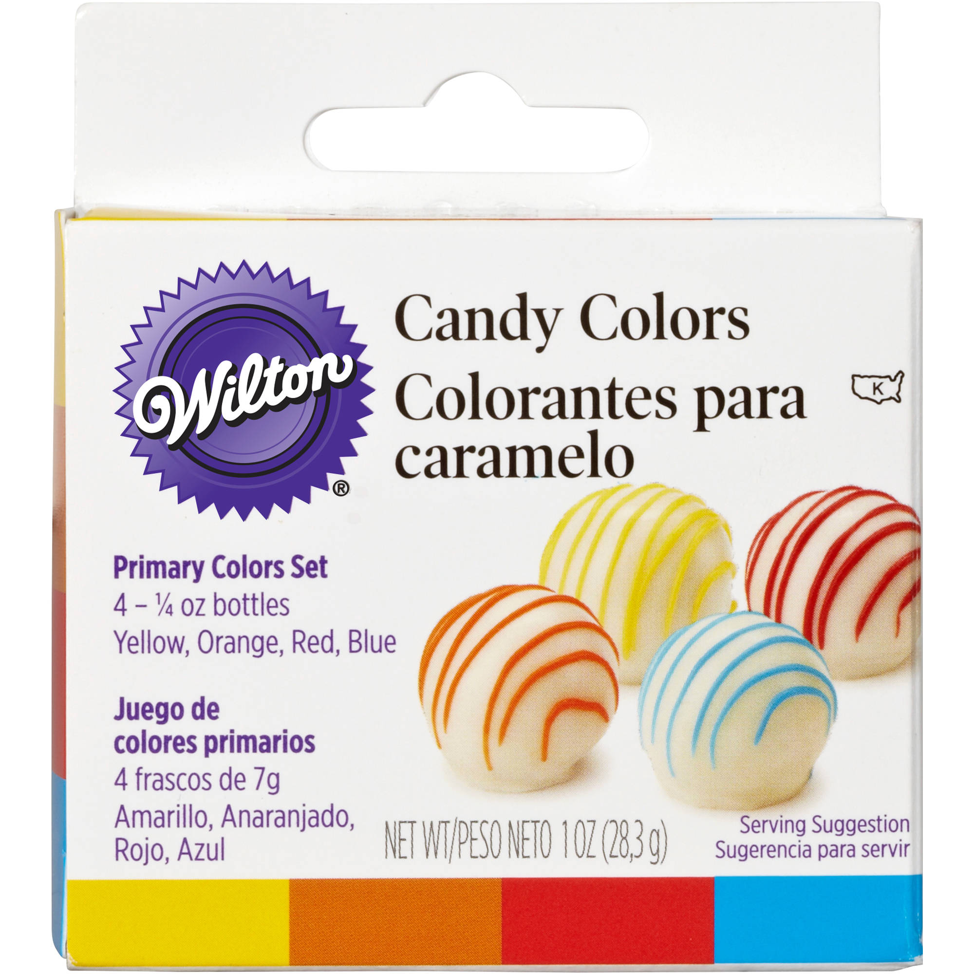 Wilton .25oz Candy Colors, Yellow, Orange, Red, & Blue 4 ct. 1913-1299