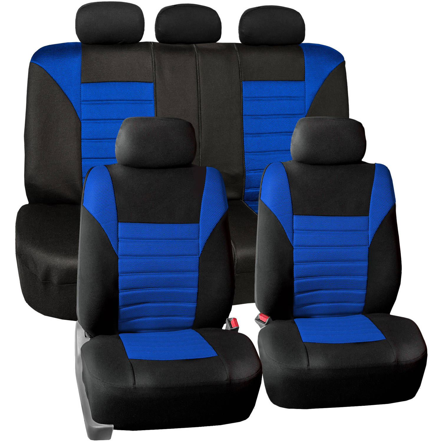FH Group Universal Fit Premium Airbag Compatible 3D Air Mesh Full Set Seat Covers, Blue