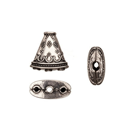 Texture Trapezoid Antique Silver-Plated Connector Finding 3 To 1 23x23mm Sold per pkg of 2pcs per pack