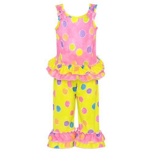 Laura Dare Little Girls Pink Yellow Dotted Ruffle 2 Pc Pajama Set 2-4T