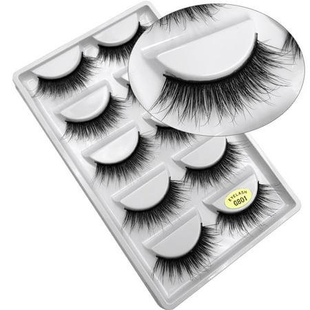 Entire Box (FeelGlad 5 Pairs Mink Fur 3D False Eyelashes Kit, 10 Fake Eyelashes, Soft Flexible False Eyelashes with Box, Entire Eyelids for Ladies Women Natural Look)