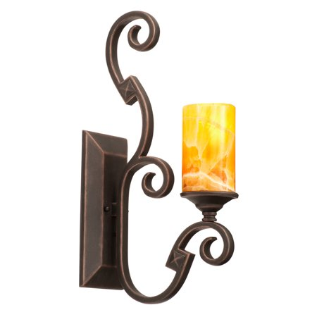 Wall Sconces 1 Light With French Cream Finish Hand Forged Iron E26 6 inch 100 Watts 1/2' Hand Forged Wrought Iron