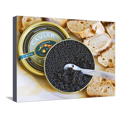 Tin of Black Caviar and Mother-Of-Pearl, Caviar Et Prestige, Saint Sulpice Et Cameyrac Stretched Canvas Print Wall Art By Per Karlsson
