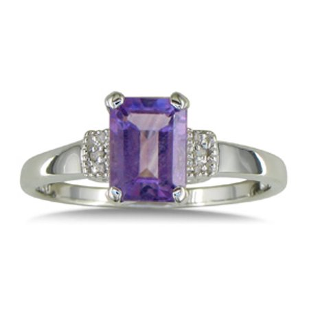 1 3/4ct Emerald Cut Amethyst and Diamond Ring in Sterling Silver Size 5.5