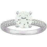 3.6 Carat T.G.W. Round CZ Engagement Ring in Sterling Silver