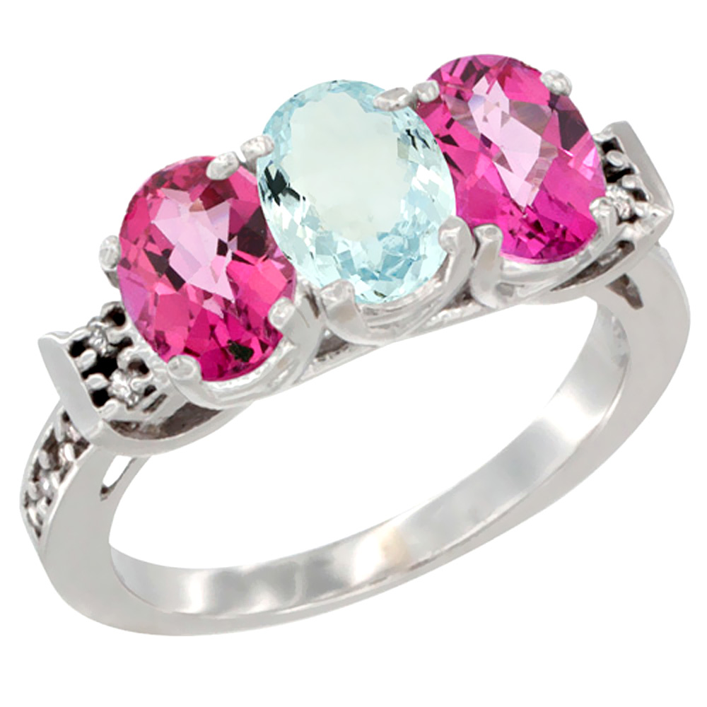 14K White Gold Natural Aquamarine & Pink Topaz Sides Ring 3-Stone 7x5 mm Oval Diamond Accent, sizes 5 10 by WorldJewels