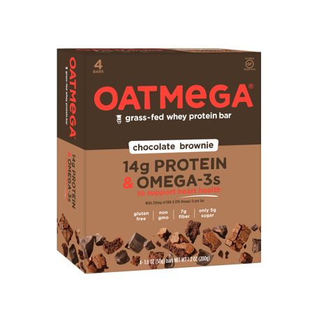 Oatmega Brownie Crisp Protein Bars  1 8 Oz  4 Count  Gluten Free  Soy  Free  Egg Free  Omega 3S  5G Of Sugar
