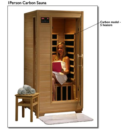 Buena Vista SA2402 1 Person Infrared Sauna with 5 Carbon Heaters  Ergonomic Back Rests  EZ Touch Control Panel  Recessed Interior Lighting  and Sound System with CD player and AUX MP3 Connection