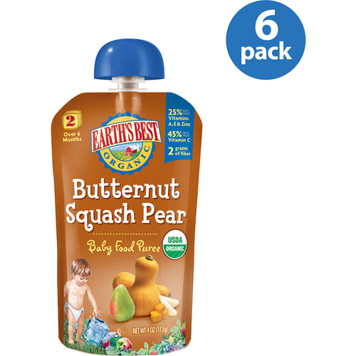 Earth's Best Puree Organic Butternut Squash & Pear 4oz - Stage 2 Baby Food (Pack of 6)