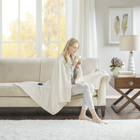 "Electric Plush Throw (60""x70"") Ivory - Beautyrest"