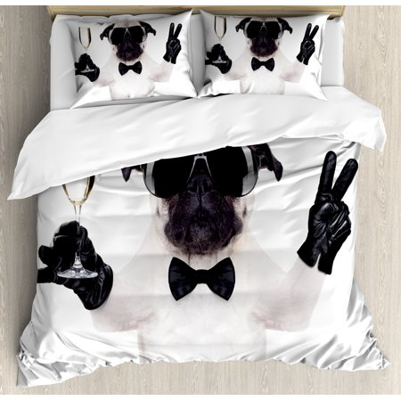Pug Queen Size Duvet Cover Set, Pug with Champagne Glass and Peace Sign Cool Looking Dog Celebration Animal, Decorative 3 Piece Bedding Set with 2 Pillow Shams, Black White Cream, by Ambesonne](Through The Looking Glass White Queen)