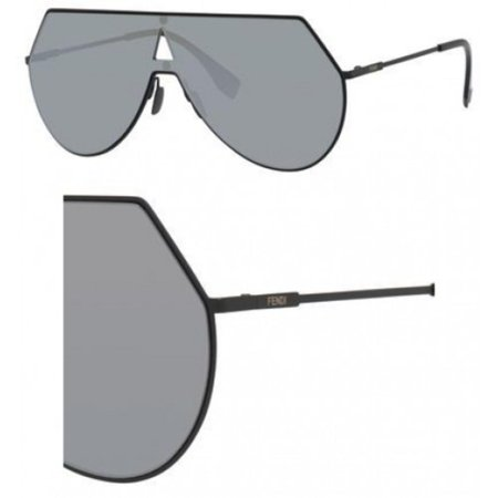 Fendi Women's Shield Aviator Sunglasses, Matte Black/Silver, One (Aviator Sunglasses Side Shields)