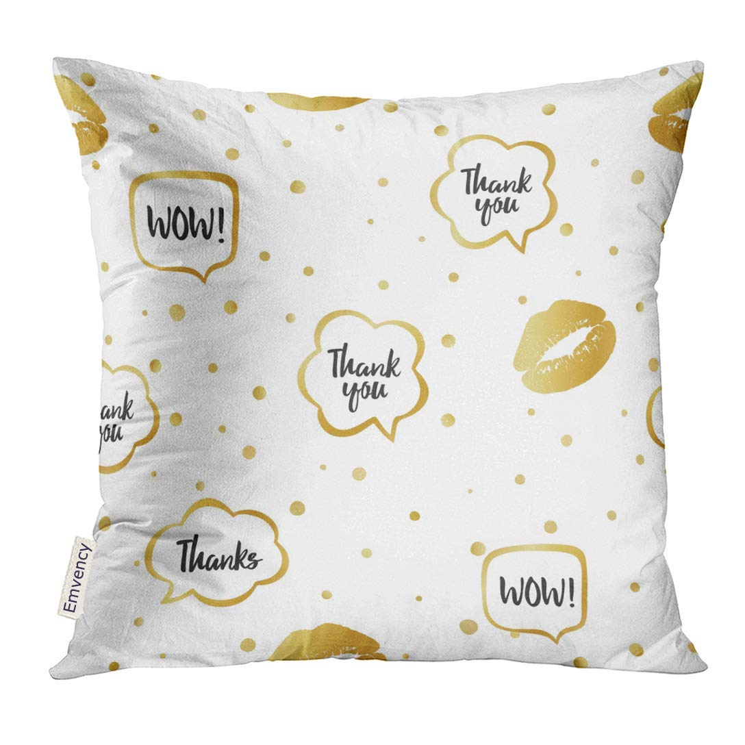 USART Colorful Abstract Gold with Little Circles Lips Trace and Speech Bubbles Words Thanks Wow Design Beauty Pillow Case 18x18 Inches Pillowcase