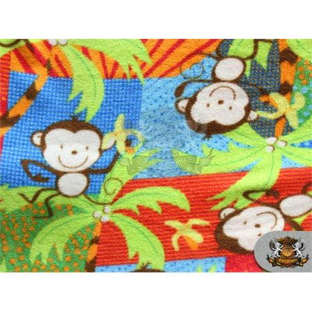 Fleece Printed Fabric MULTI COLORED MONKEY / 58