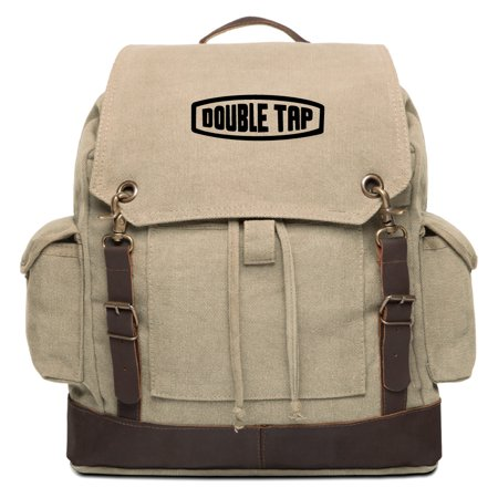 Army Force Gear Double Tap Vintage Canvas Rucksack Backpack With Leather -