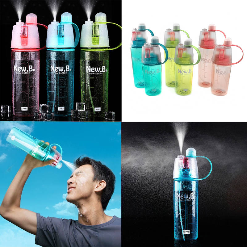 Minch Drink Water Bottle Outdoor Sports Hiking Camping Cycling Mist Spray Sport Bottle - 400ML Blue