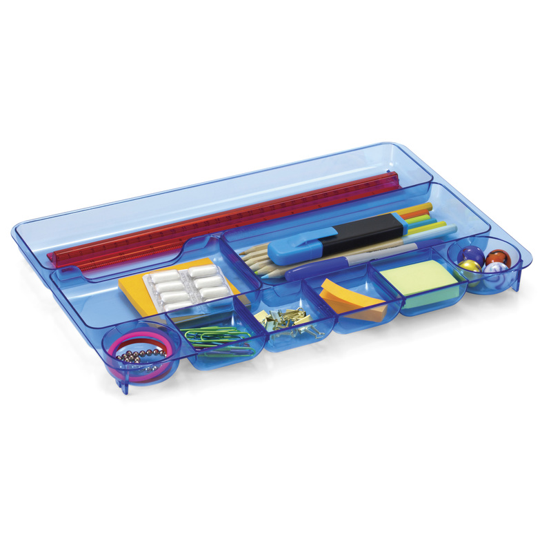 Officemate Blue Glacier Drawer Tray, Nine Compartments, Transparent Blue (23216)
