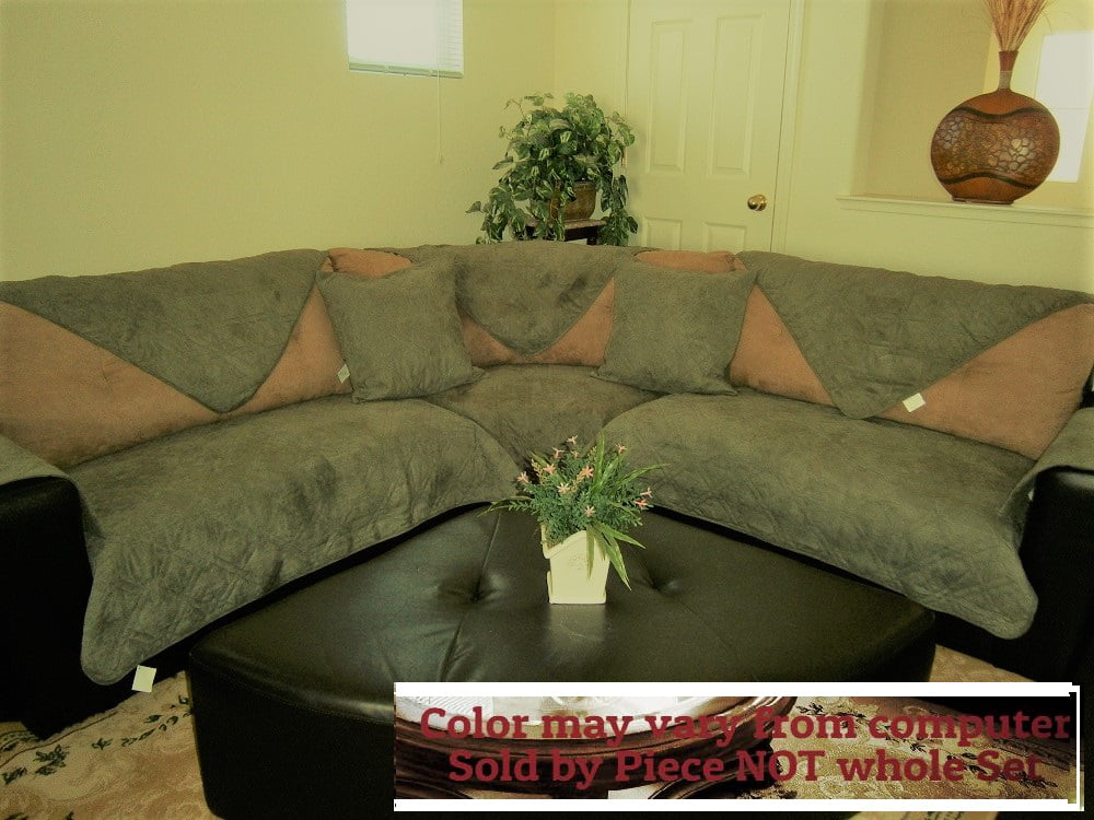 o fit sectional sofa cover protector micro suede quilted sofa rh walmart com