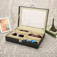 Ymiko Organizer Case,Glasses Storage Box,8 Grids Sunlasses Glasses Storage Display Case Glasses Storage Box PU Leather