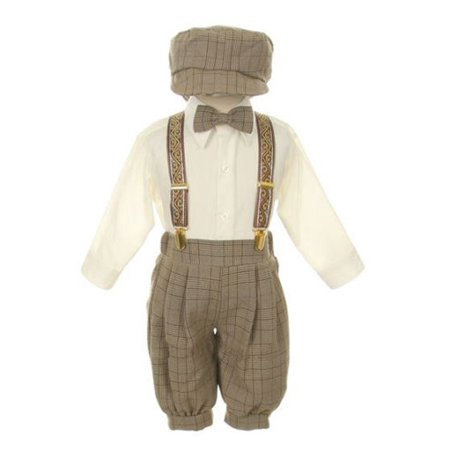 Rafael Baby Boys Brown Overall Pants Knickers Vintage Outfit Tuxedo Set