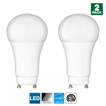 2 Pack Sunlite GU24 Base LED Bulb, Dimmable, 10 Watt (60 W Equivalent), CFL Replacement, 5000K Super White, 800 Lumens, 15000 Hour Life Span