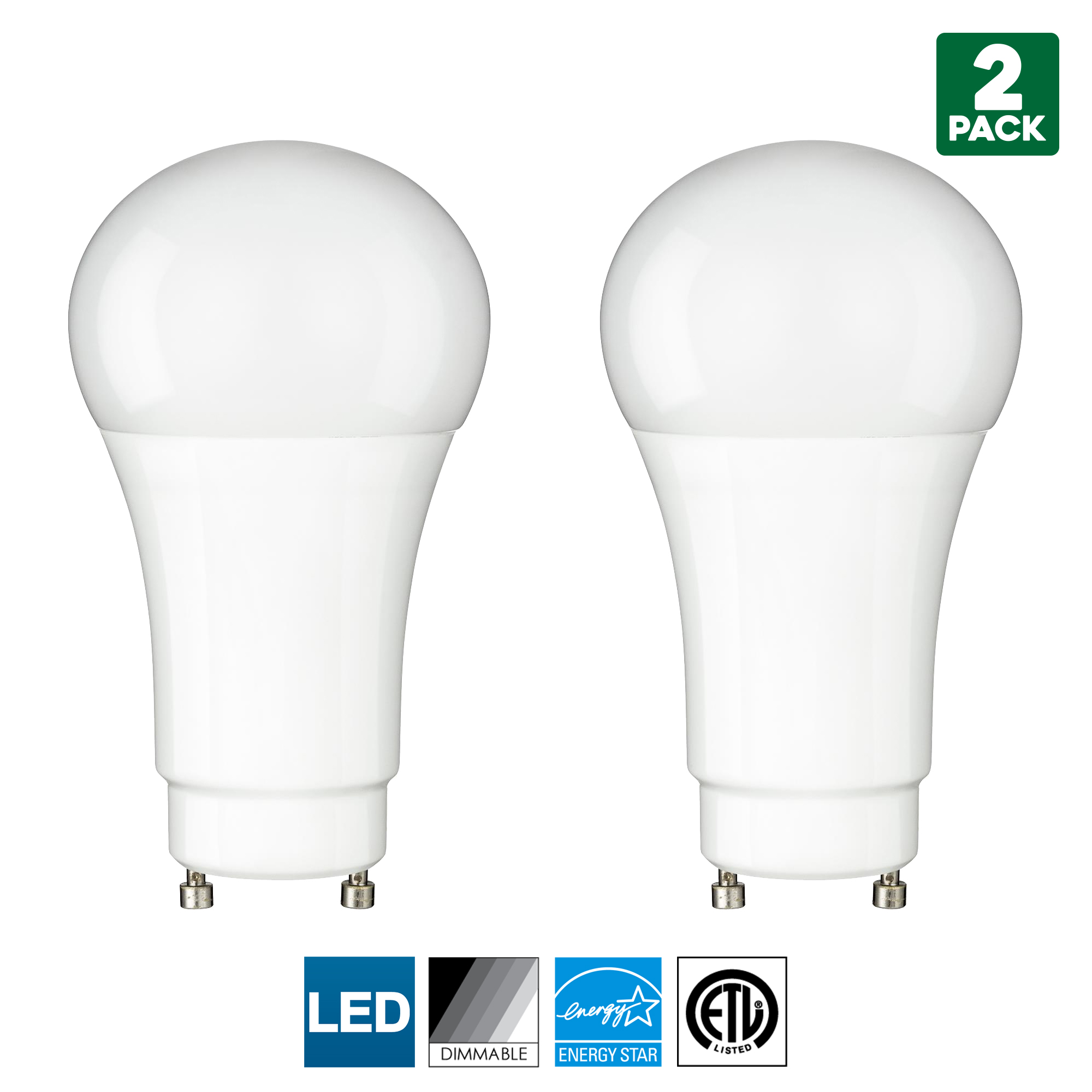 2 Pack Sunlite GU24 Base LED Bulb, Dimmable, 10 Watt (60 W Equivalent), CFL Replacement, 4000K Cool White, 800 Lumens, 15000 Hour Life Span