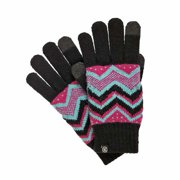 Isotoner Smart Touch Womens Black Knit Zig Zag Tech Gloves Smartouch Texting