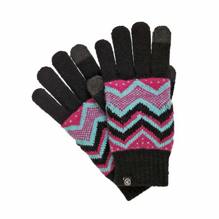 Isotoner Smart Touch Womens Black Knit Zig Zag Tech Gloves Smartouch Texting ()